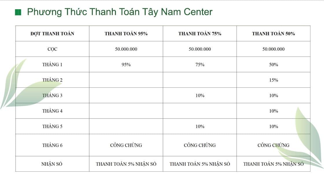 phuong thuc thanh toan du an tay nam center